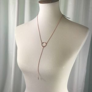 Luv AJ Lariat necklace NWT Rose Gold Color